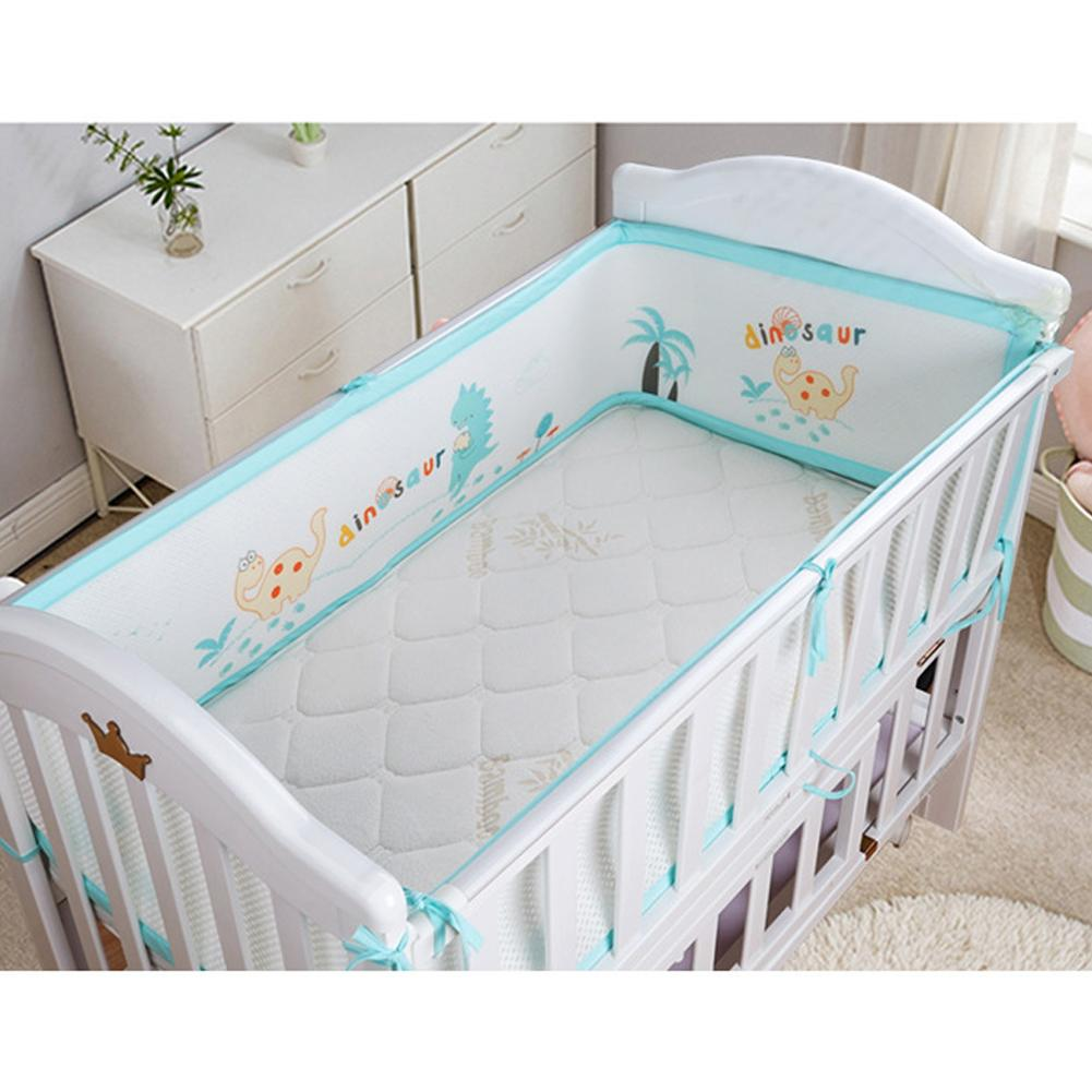 3D Breathable Crib Bumper Pads For Standard Crib Machine-Washable Rib Liner Set For Baby Safety Bumper Guardrail Padding