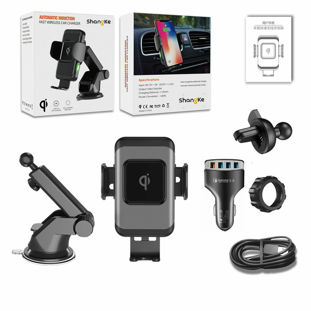 Wireless Car Charger 10W Auto Clamp 2 in 1 Qi Fast Charger Car Mount Air Vent Dashboard Phone Holder for iPhone X 8 Samsung S9 in Wireless Chargers from Cellphones Telecommunications