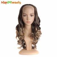 24 Long 60cm Curly 3 4 Half Head Hair Wig Heat Resistent New Black Brown Curls