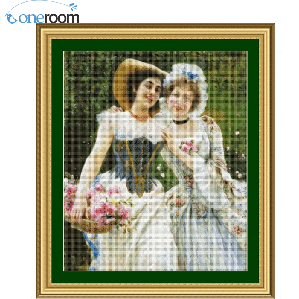 49-58 Two Beautiful Women Stitch,DIY 14CT similar DMC Cross Stitch,Sets For Embroidery Kits Counted Cross-Stitching 2th