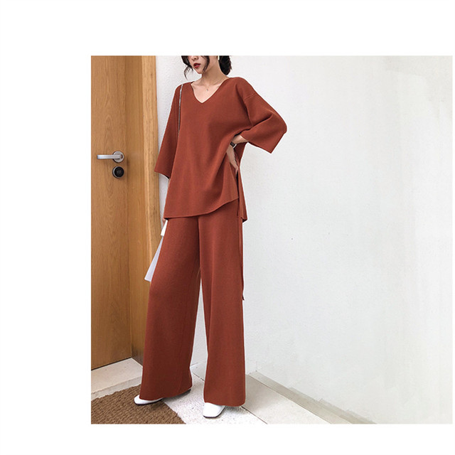 Knitting Female Sweater Pantsuit For Women Two Piece Set Knitted Pullover V-neck Long Sleeve Bandage Top Wide Leg Pants  Suit 3