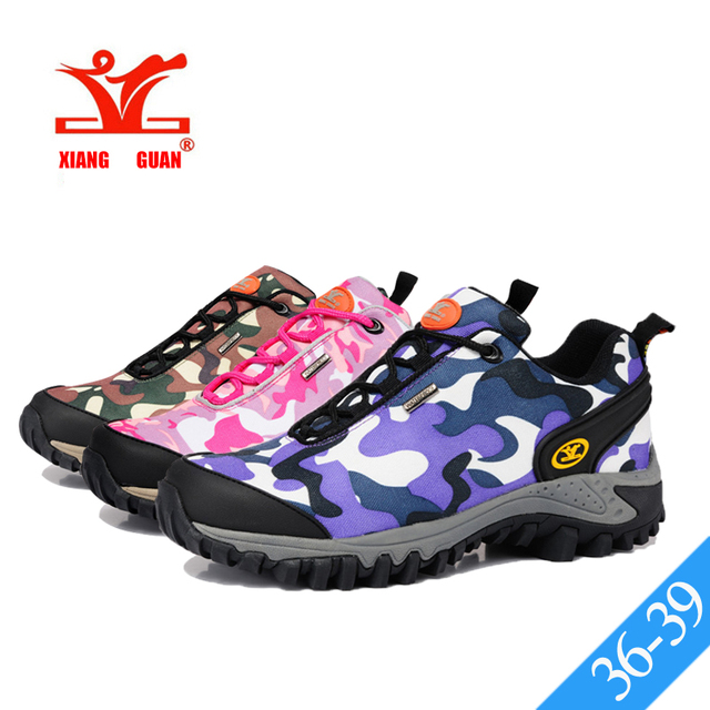 5ab161e0d9cd XIANG GUAN Womens Camouflage Hiking Shoes Army Green Camo Outdoor Boots  Pink Camo Trail Trekking Climbing Sneakers Lycra Oxford
