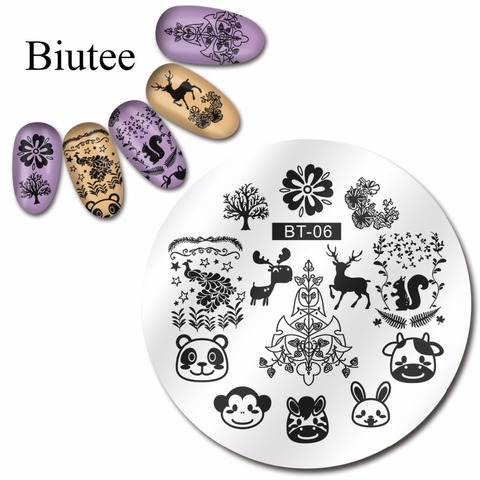 Biutee 1pc 20 Designs Nail Stamp Plate Classical Stripes Leaves Flowers Animals Star Musical Instruments Nail Template Karachi