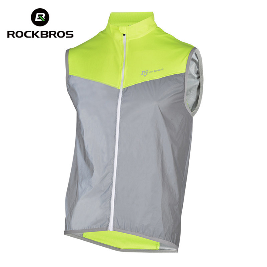 ROCKBROS Reflective Cycling Vests Sleeveless Windproof Cycling Jackets Bike Bicycle Jersey Top Cycle Clothing Wind Coat