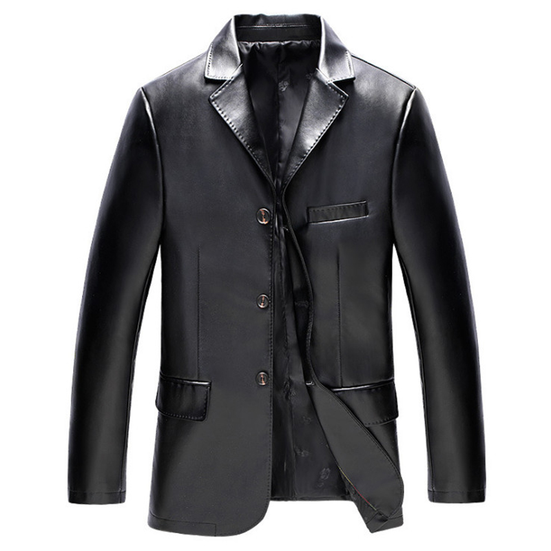 Spring Autumn Men's Leather Jacket Casual PU Blazer Jacket Male Single Breasted Slim Fit Mens Leather Jackets Coats Black Blue