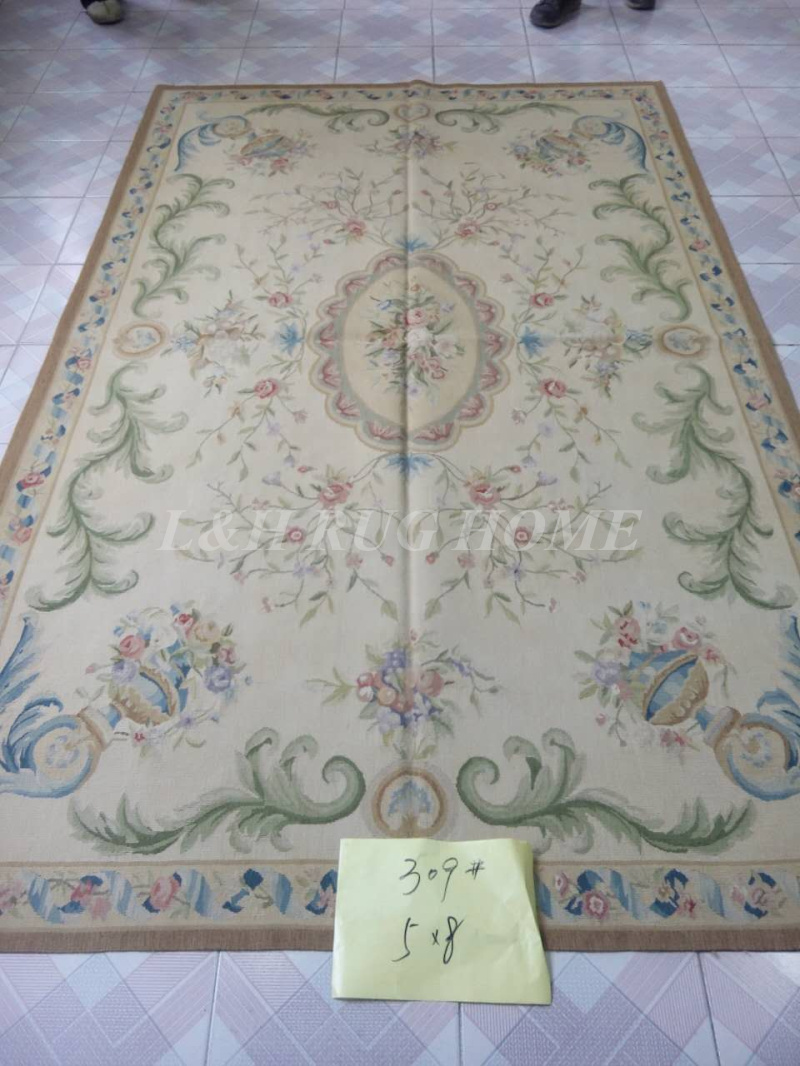 Free Shipping 5X8  French Aubusson rug hand woven100% New Zealand wool rugs and carpets, classical beige colorFree Shipping 5X8  French Aubusson rug hand woven100% New Zealand wool rugs and carpets, classical beige color