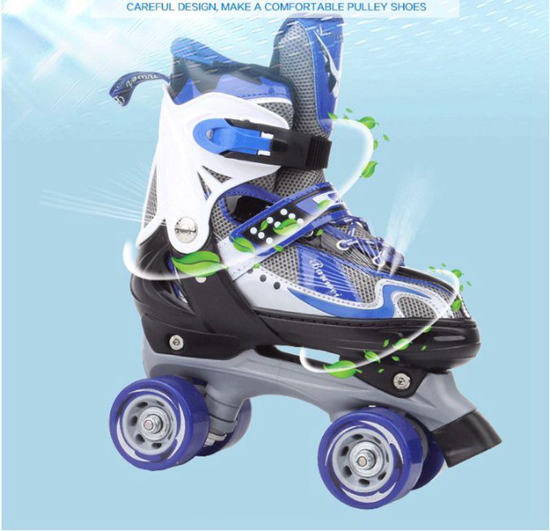 Vente chaude! patin à roulettes double rangée chaussures poulie de patinage chaussures 4 roues chaussures en plein air intérieur d'équitation route goudronnée patin à roulettes