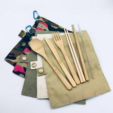 Bamboo Travel Utensil Set Organic Reusable Flatware Utensils dinnerware set bamboo cutlery fork spoon knife  Eco Friendly