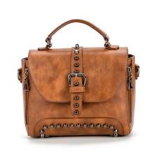 Quality Crossbody Bags For Women Messenger 2019 Vintage Leather Handbags Famous Brand Rivet Small Shoulder Sac