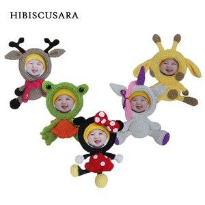 Новое поступление, детский реквизит для фотосессии, милый дизайн с изображением животных из мультфильма, вязаная Bebe, фоторамка для младенце...