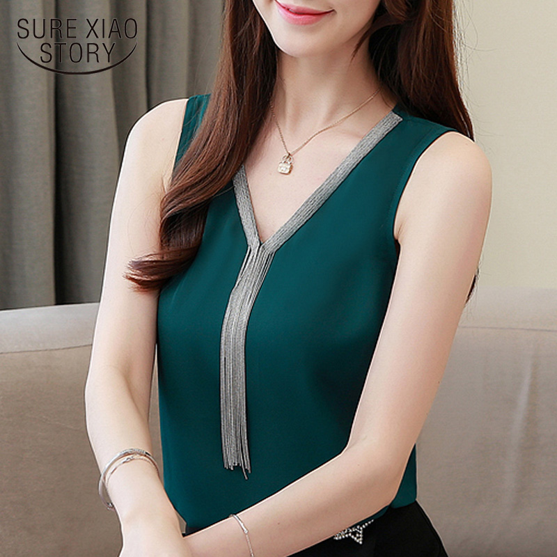 Blusas mujer de moda 2019 borla v colarinho senhora do escritório blusa chiffon mulheres camisas mujer camisas partes superiores das mulheres e blusas 4094 50