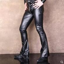 Nightclub для ночного клуба новые мужские певицы модные сексуальные ди-джей GD стрейч pu кожаные брюки на молнии обтягивающие мотоциклетные расклешенные брюки сценические костюмы