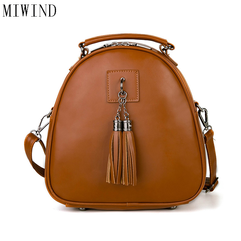 Women s Leather Backpack mini Tassel backpack women PU back pack backpacks for teenage girls Rucksack