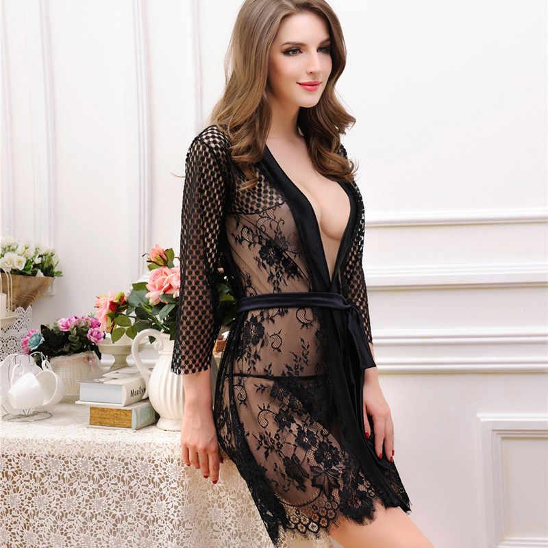 376257b4fb1a 2019 Women Sleepwear robe Sexy Lace Nightdress Nightgown Sleepwear Crochet  Black Lingerie Nightwear Sleep Dress Underwear