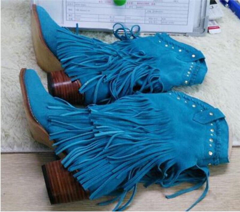 Femmes mi mollet talon bas Style bohème gladiateur moto bottes à franges Cowboy bottes chaussures printemps automne femmes gland bottes - 4