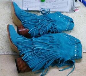 Image 4 - Femmes mi mollet talon bas bohême Style gladiateur moto bottes à franges Cowboy bottes chaussures printemps automne femmes gland bottes