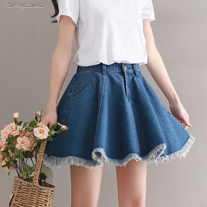 Blue Short Denim Skater Skirts Shorts Women Summer 2019 Fashion Streetwear Pleated Jeans Skirt Female Casual Loose Burr Saias(China)