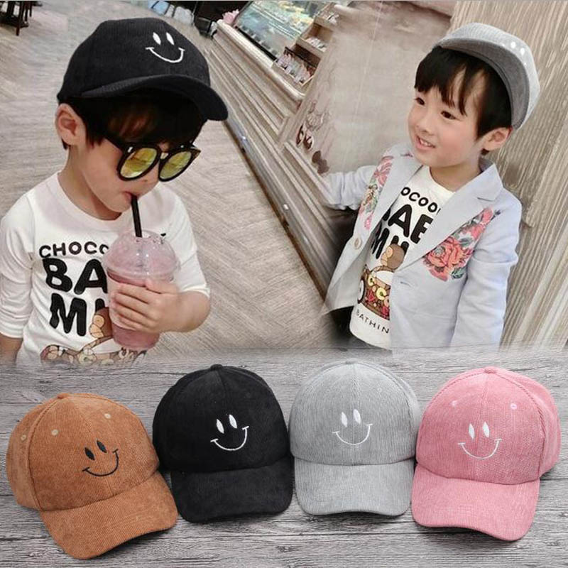 2017 Children Hip Hop Baseball Cap Corduroy embroidery smile face Autumn kids Sun Hat Boys Girls snapback Caps for 2-9 years charmdemon 2016 embroidery cotton baseball cap boys girls snapback hip hop flat hat jy27
