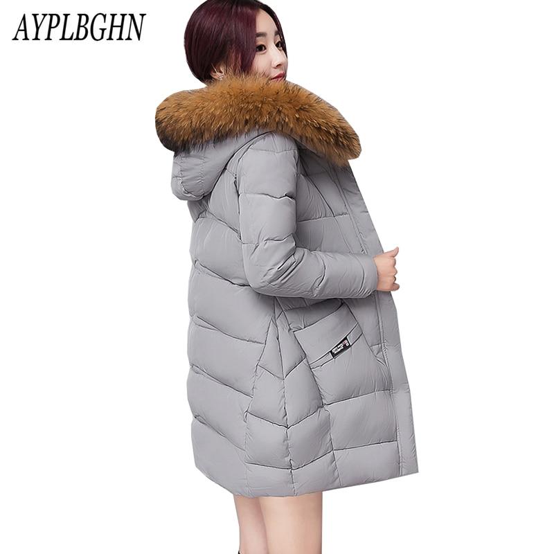 2017 women winter hooded coat female outerwear parka ladies warm long jacket slim jaqueta feminina fur collar plus size 3XL 5L79 цены онлайн
