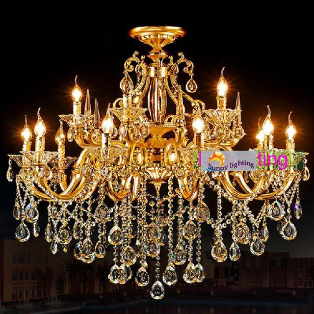 Retro Gold Led Chandelier lustre 15-arm yellow Aluminum clear crystal lighting chandelier candle holder Villa hotel candelabro