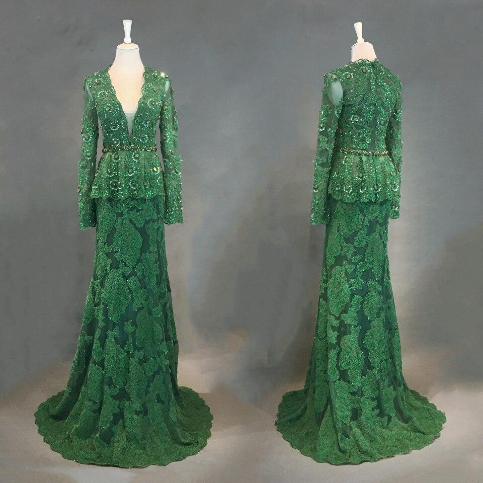 Dubai robes de soirée vert 2018 robe longue femme soirée sirène robe de soirée manches longues perlées robes de soirée Vestido Longo