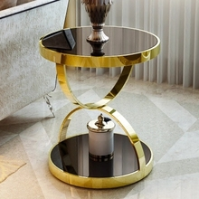 Modern simple rounded tea table toughened glass sofa corner table side table
