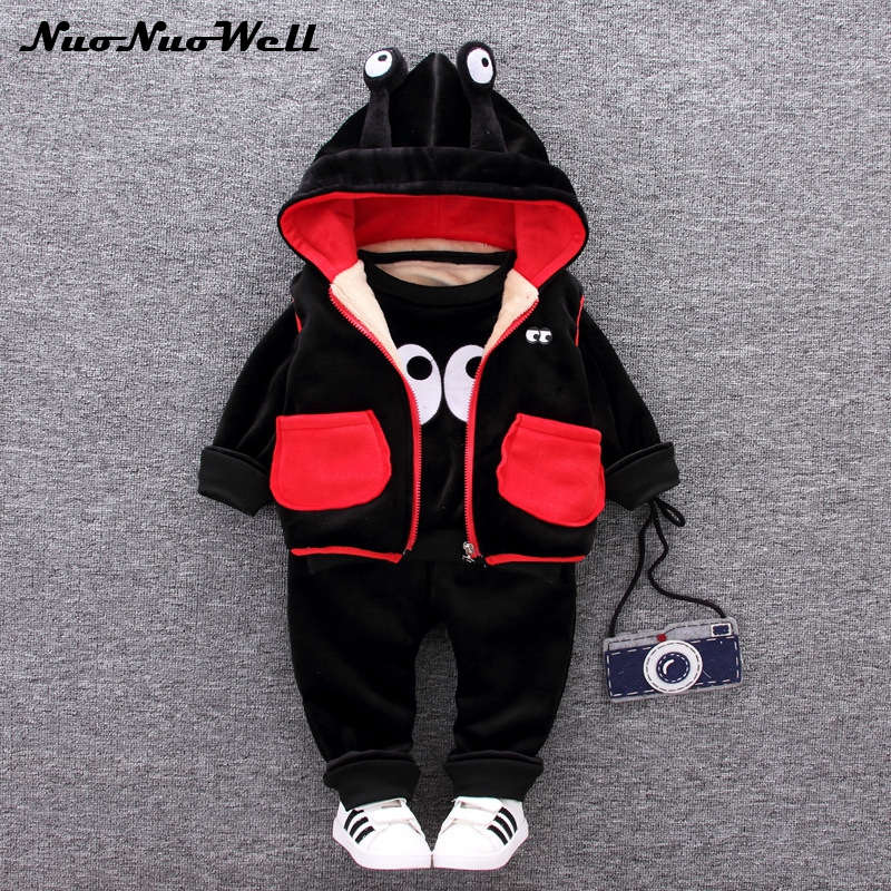 New Winter Baby Boys Cartoon Big Eyes Thick Clothing Sets Kids Girls Clothes Suits Toddler 3 Pcs Casual Sport Hoodies Tracksuit casual kids hoodies clothes boys clothing 2pcs cotton shirt pants toddler boys clothing children suits baby boy clothes sets