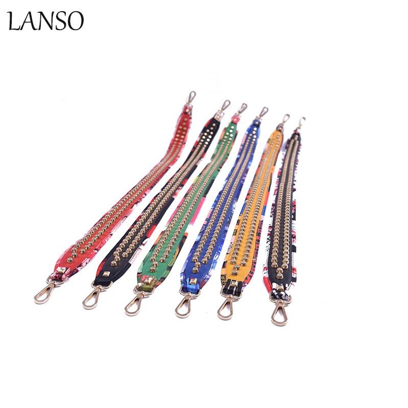 LANSO Brand Fashion Rivet Shoulder Strap Leather Flower Lengthened HandleBag Strap Women ...