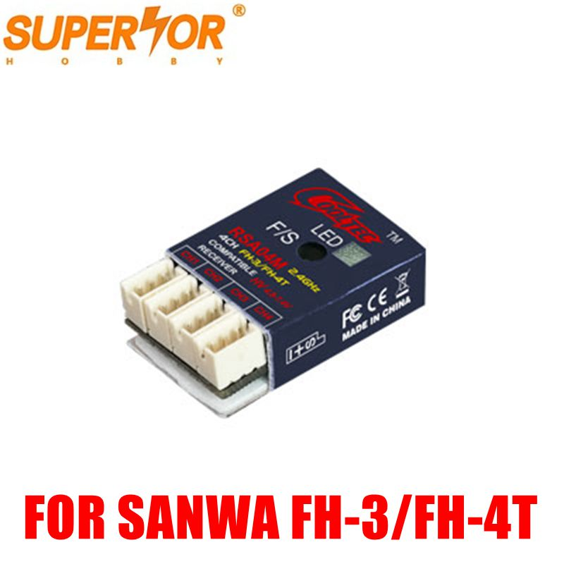 Supérieure Passe-Temps RSA04M 4CH récepteur FH-3/FH-4T compatible pour Sanwa M12, M11X, EXZES X, MT-4, MX-3X, GEMINI X, MT-S, MT-4S, M12S