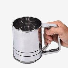 1 unids Taza Forma de Harina Tamiz de Acero Inoxidable Para Hornear Taza de Polvo de Malla Tamiz de Harina Tamiz Azúcar en polvo Shaker Cocina Accesorios