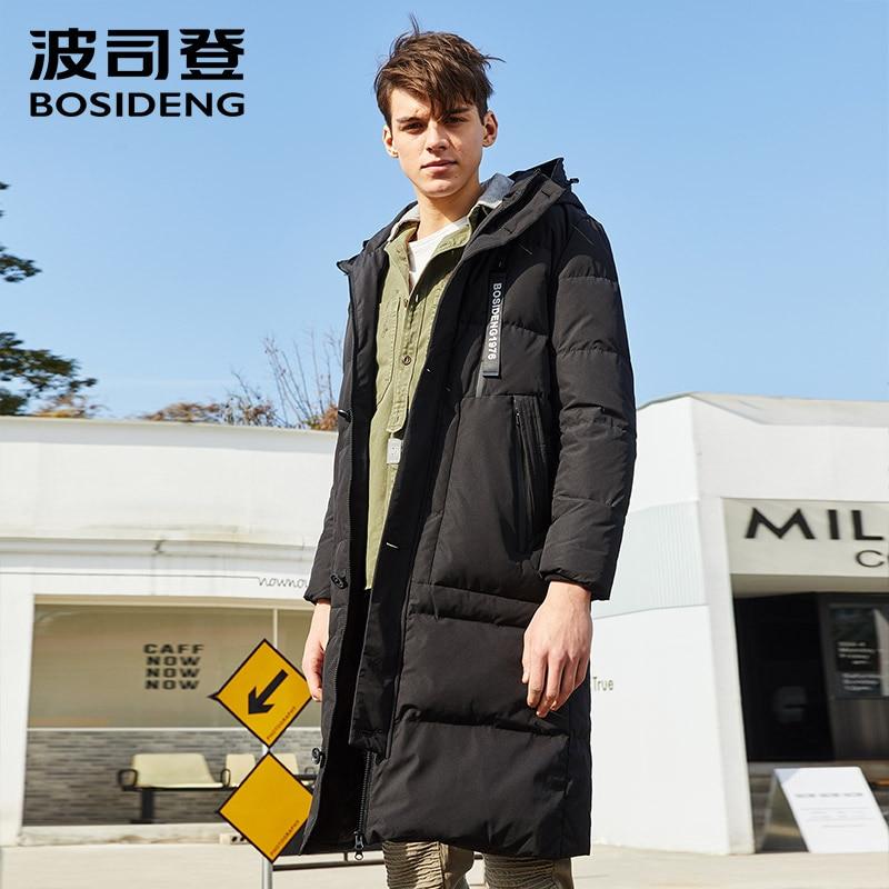 BOSIDENG nouveau hiver X-LONG doudoune pour hommes manteau épaissir x-long parka imperméable coupe-vent à capuche rubans B70141117