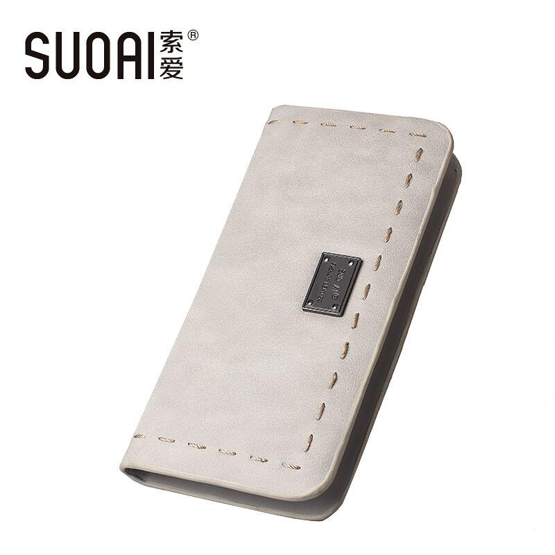 SUOAI Women Wallets 2016N ew Fashion Long Purse  Pu Leather Simple Style Female Long Purse