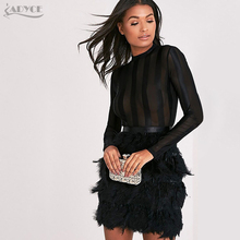 ADYCE Bandage Runway Dresses 2018 Elegant Sexy Feather Embellished Long Sleeves Mesh Patchwork Celebrity Vestidos Free Shipping