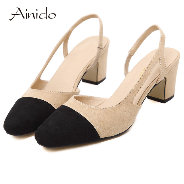 AINIDO Brand New Faux Leather Women Pumps Square Toe Mid Heels Ladies Sandals Dress Woman Shoes