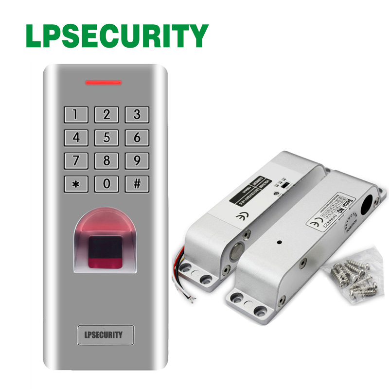 with keypad fingerprint access reader Electric Drop Bolt Door Lock DC 12V Magnetic Induction Surface Mount