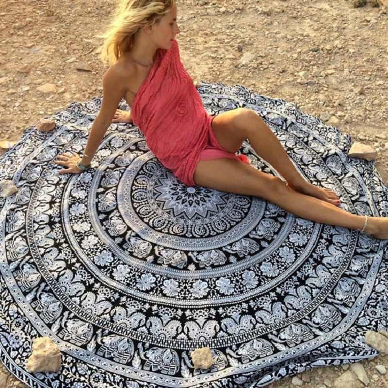 Nueva alfombra de playa de rayón con impresión Circular europea, mantas de Yoga, esterilla de Yoga, tela de arena, chal de protección solar, Toalla de baño, vestido de verano