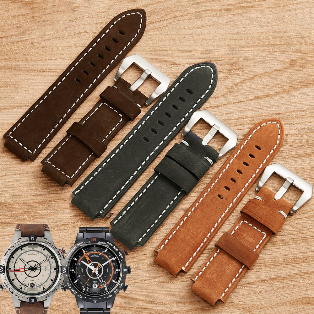 XBERSTAR 24mm Genuine Leather Watch Band Strap for Timex T49859 T2N720 T2p141 T2n722 723 738 739 Watchbands Wristband Straps