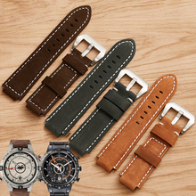 XBERSTAR 24mm Genuine Leather Watch Band Strap for Timex T49