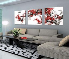 3 pcs Large Frameless 50x150cm diy oil painting by numbers home decoration digital Chinese Flowers wall picture for living room