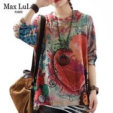Осень 2019, модные женские вязаные топы Max LuLu в Корейском стиле, женские свободные футболки с длинным рукавом и принтом, хлопковая теплая одежда