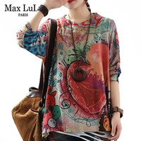 Max LuLu 2019 Autumn Fashion Korean Style Ladies Knitted Tops Tees Womens Loose Printed Long Sleeve T Shirts Cotton Warm Clothes