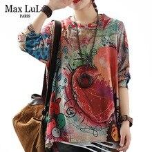 Max Lulu 2019 Herfst Mode Koreaanse Stijl Dames Gebreide Tops Tees Womens Loose Gedrukt Lange Mouwen T shirts Katoen Warm kleding