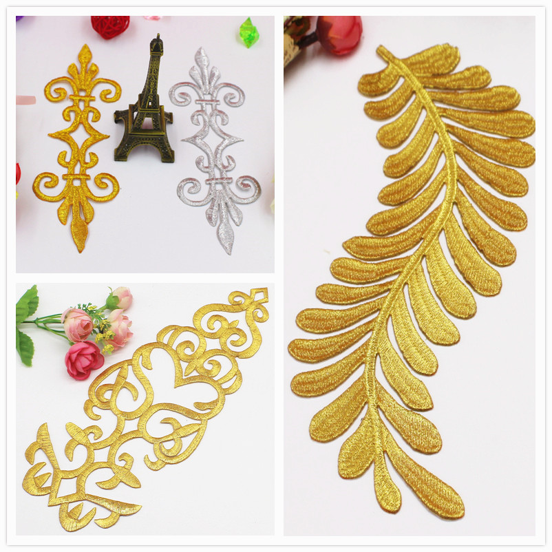 Iron On Appliques Gold Embroidered Patches Cosplay Party Decoration Vintage Dress Costumes Diy Hometextile Trims Gold Silver #37