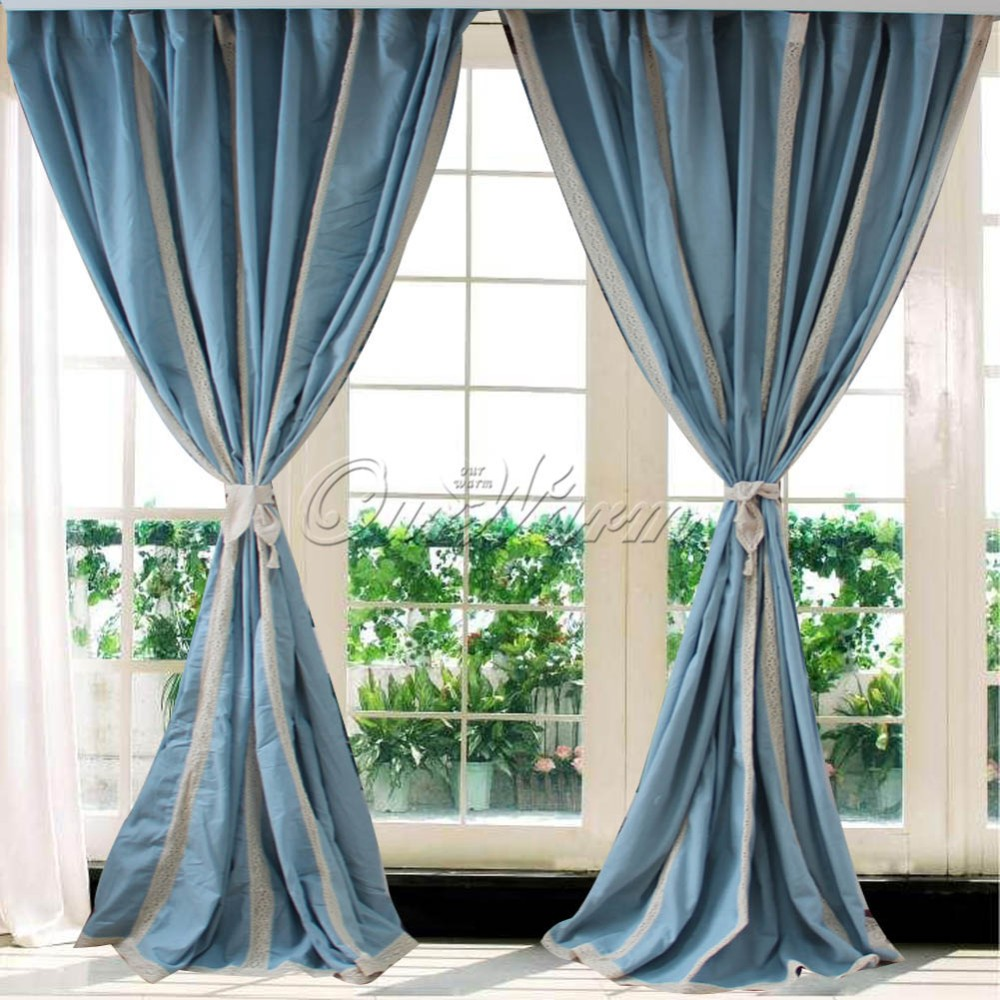 2pcs Blue Hollow Stitching Panel Cotton Linen Lace Crochet Curtain Valance Drape For Living Room Hotel