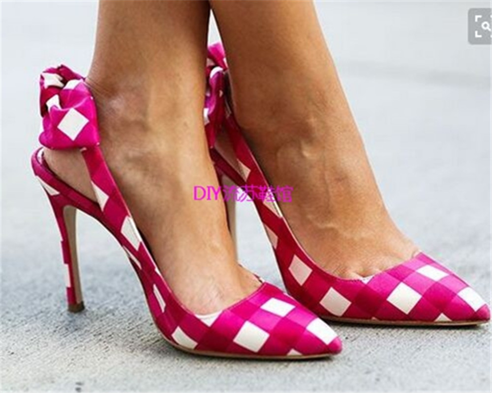 Fashion Plaid Butterfly-knot Sandals Women Gladiator Dress Shoes Women's Stiletto Heel Peep toe High Heels Sandalias Mujers