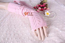 Autumn and winter female cashmere gloves semi-finger wool gloves cutout long sleeve gloves