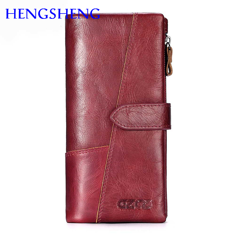 Hengsheng 100% genuine leather women long wallet for fashion lady short wallet of cow leather men wallet women cross wallet