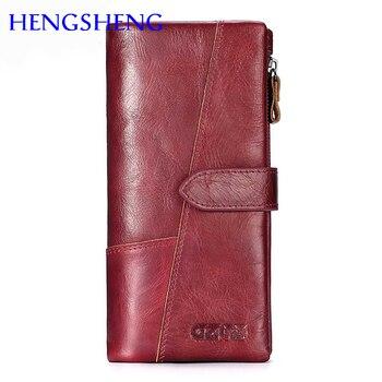 Hengsheng hs 100% da chính hãng phụ nữ dài wallet cho phụ nữ thời trang ví ngắn của bò da men wallet phụ nữ chữ thập wallet