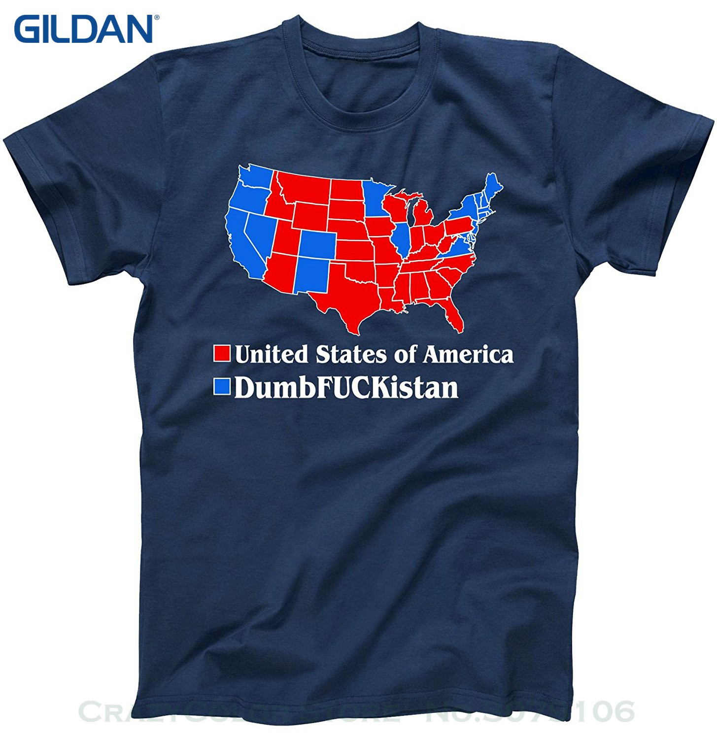 Short Sleeves Cotton Free Shipping Republican Version United States Of America Vs. Dumbfuckistan Election Map T-shirt