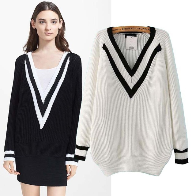 2014 Women Top Clothing Shop Brand New Winter Fashion Girl V-Neck Glamorous V Neck College Jumper Knitwear Sweater Free Shipping